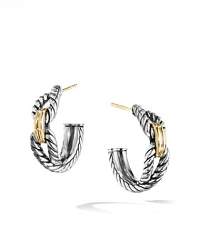 David Yurman Crossover Collection Cable Loop Hoop Earrings With 18k Yellow Gold