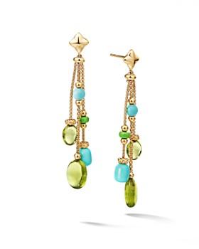 David Yurman - Bijoux Bead Link Drop Earrings in 18K Yellow Gold with Peridot & Turquoise