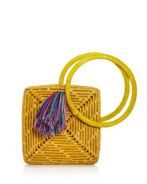 NANNACAY Victoria Straw Tote Bag in Yellow/Multi