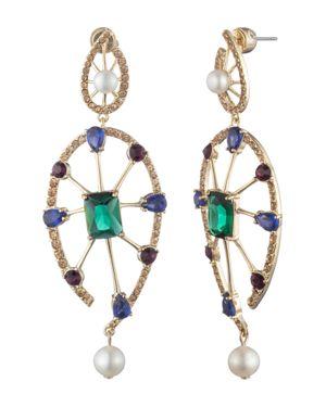 CAROLEE Gold-Tone Multi-Crystal & Freshwater Pearl (5-8Mm) Statement Earrings