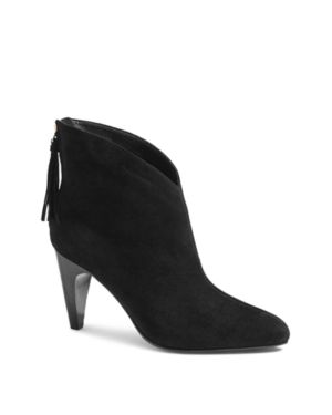 Women'S Tassel Suede Ankle Booties in Black