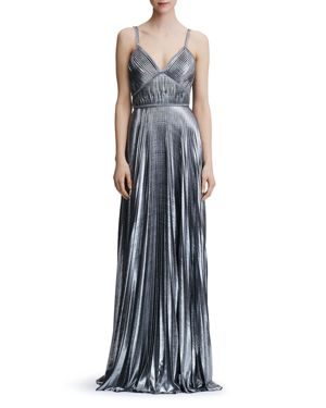 Pleated Lame Gown in Silver