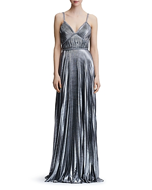 Marchesa Notte Pleated Lame Gown