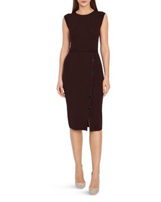 Sasha Button Detail Knit Dress by Reiss