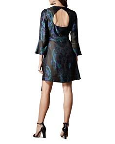 KAREN MILLEN - Floral Jacquard Faux-Wrap Dress