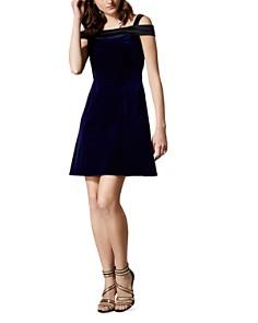 KAREN MILLEN - Velvet Cold-Shoulder Mini Dress