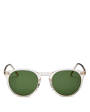 b6eb18d122 Oliver Peoples Men S O Malley Peaked Round Sunglasses With Mineral Glass  Lenses - Buff Green