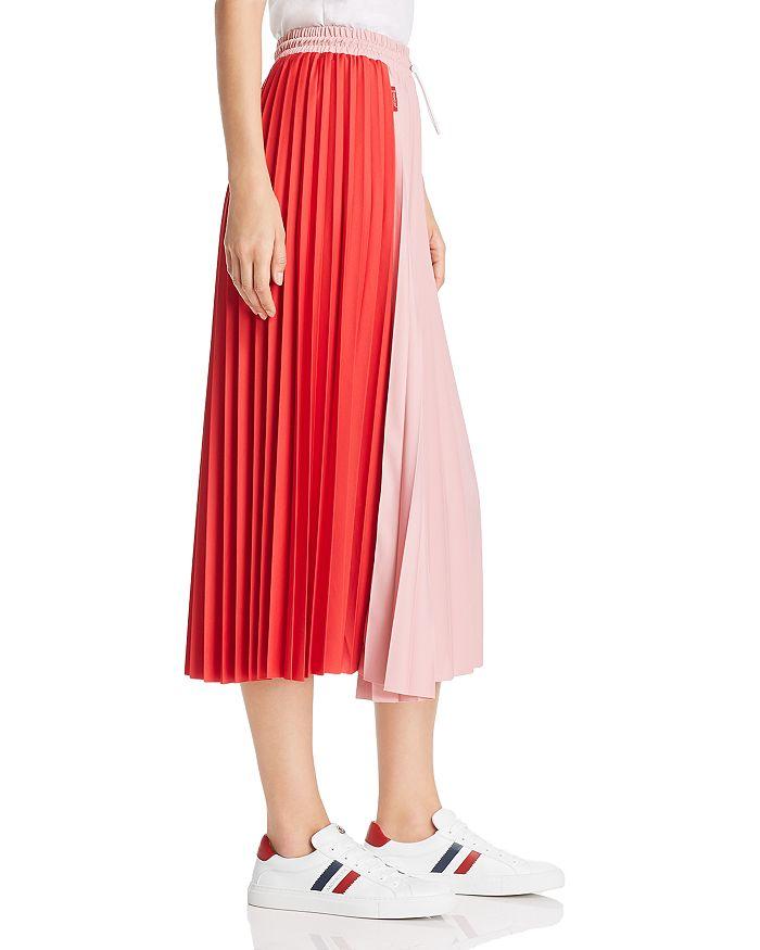 943893725 Color-Block Pleated Midi Skirt