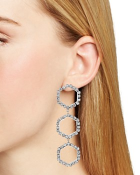 AQUA - Triple Crystal Hexagon Drop Earrings - 100% Exclusive