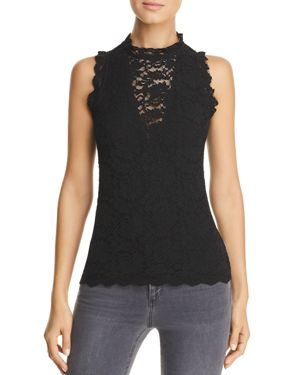 RED HAUTE Sleeveless Lace Top in Black