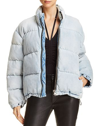 21d56e9fa alexanderwang.t Bleached Denim Puffer Jacket | Bloomingdale's
