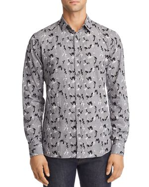 Noize Puzzle Embroidered Plaid Regular Fit Shirt