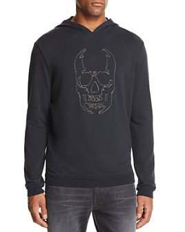 John Varvatos Star USA - Stitched-Chain Skull Hooded Sweatshirt