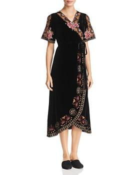 Johnny Was - Joanna Embroidered Velvet Wrap Dress