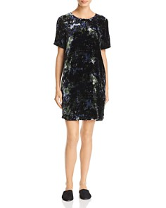 Eileen Fisher Petites - Printed Velvet Shift Dress