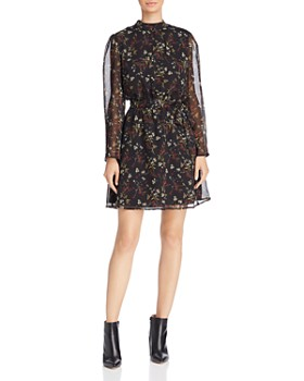 BB DAKOTA - Jasmine Sheer-Sleeve Floral Print Dress