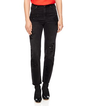 01683b37364b60 Sandro - Alise Embellished Ankle Straight Jeans in Black ...