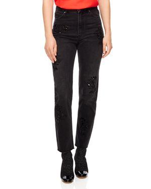 Sandro Alise Embellished Ankle Straight Jeans in Black