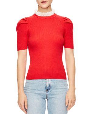 Sandro Sphynx Ruffled Collar Ribbed Short-Sleeve Sweater