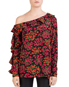 The Kooples - Camelia Ruffled One-Shoulder Floral Silk Top