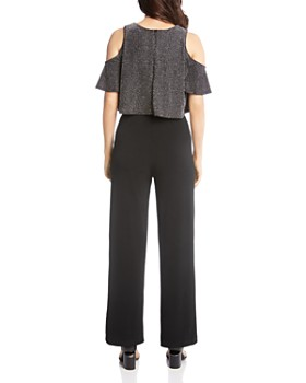 Karen Kane - Cold-Shoulder Sparkle-Knit Jumpsuit