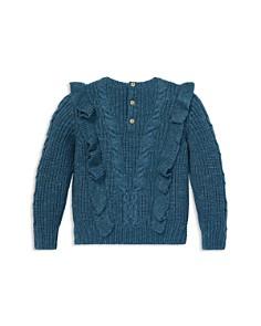 Ralph Lauren - Girls' Ruffled Aran Knit Sweater - Little Kid