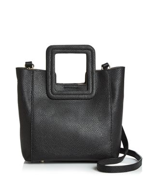 TMRW STUDIO Antonio Mini Leather Satchel in Black/Gold