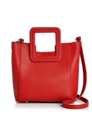 TMRW STUDIO Antonio Mini Leather Satchel in Red/Gold