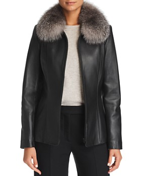 Maximilian Furs - Fox Fur-Collar Leather Jacket - 100% Exclusive