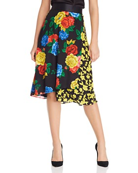 Alice and Olivia - Nanette Silk Floral Faux-Wrap Skirt