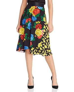 Alice + Olivia Nanette Silk Floral Faux-Wrap Skirt