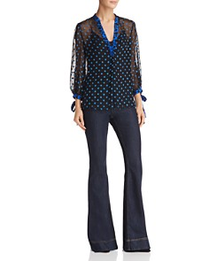 Alice and Olivia - Sheila Polka Dot Burnout Top