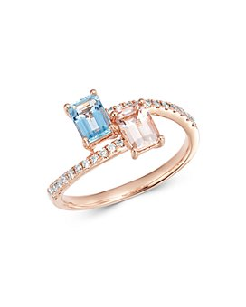 Bloomingdale's - Morganite & Aquamarine Bypass Ring in 14K Rose Gold - 100% Exclusive