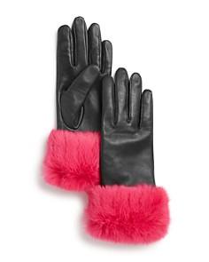 AQUA - Rabbit Fur-Cuff Leather Tech Gloves - 100% Exclusive