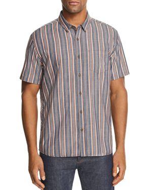 BANKS Apres Striped Short-Sleeve Regular Fit Shirt in Dirty Denim