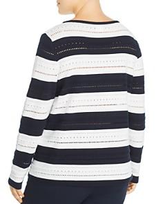 Marina Rinaldi - Anice Striped Eyelet-Detail Cotton Top