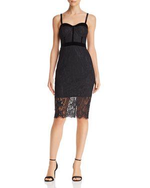 Aqua Velvet-Trim Lace Bustier Dress - 100% Exclusive