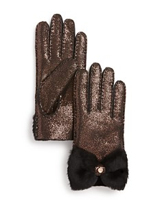 UGG® - Shorty Bow Detail Shearling Gloves