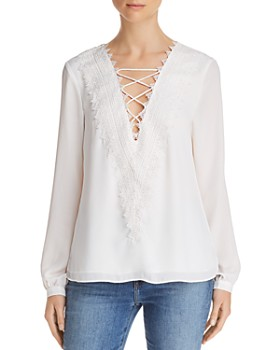 WAYF - Posie Lace-Up Top