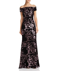 Eliza J - Off-the-Shoulder Sequined-Velvet Gown