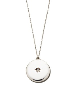 """Sasha Samuel - Sterling Silver Maxine Locket Necklace with Solitaire Cubic Zirconia, 20"""""""