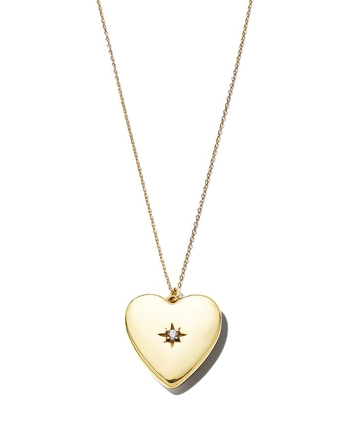 Sasha Samuel - 14K Yellow Gold Plate Anouk Heart-Shaped Locket Necklace with Cubic Zirconia, 20""