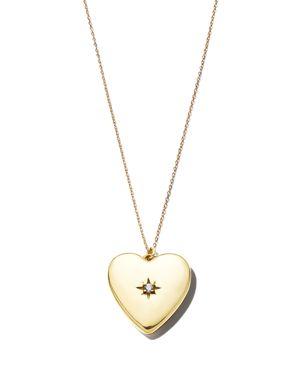 SASHA SAMUEL 14K Yellow Gold Plate Anouk Heart-Shaped Locket Necklace With Cubic Zirconia, 20