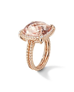 David Yurman - Chatelaine Pave Bezel Ring with Morganite in 18K Rose Gold