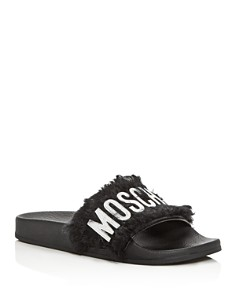 Moschino - Women's Faux-Fur Pool Slide Sandals