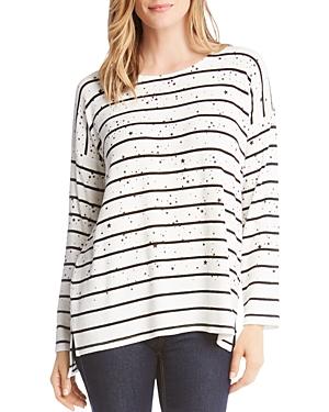 Karen Kane Sweaters STRIPED STAR-PRINT TOP