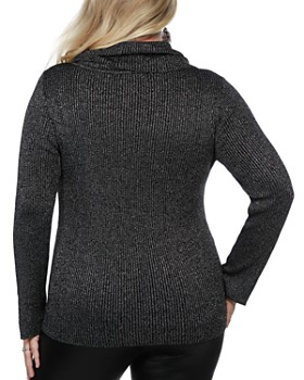 Belldini Plus - Metallic Cowl Neck Sweater
