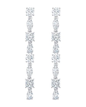 Crislu - Celebration Drop Earrings in Platinum-Plated Sterling Silver