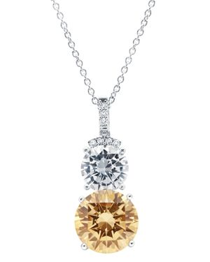 CRISLU Champagne Double Drop Necklace In Platinum-Plated Sterling Silver, 16 in Orange/Silver