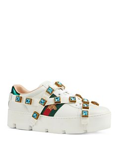 9d2e3b1b4f0 Gucci Women s Flashtrek Removable Crystal Leather   Canvas Lace Up ...
